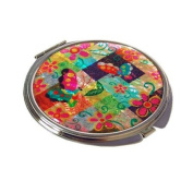 Hand mirror, handmade mother of pearl oriental gift. Colourful butterfly
