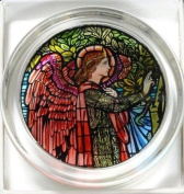 Decorative Hand Painted Stained Glass Paperweight in an Angel Gabriel Design.