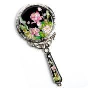 Handheld hand mirror, handmade mother of pearl gift, lotus