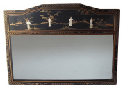 Chinese Oriental Furniture Mirror, Large Mother of Pearl Black Lacquer Mirror