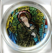 Decorative Hand Painted Stained Glass Paperweight in a Madonna Design.