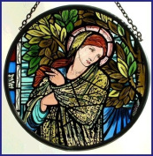 Decorative Hand Painted Stained Glass Window Sun Catcher/Roundel in a Madonna Design.