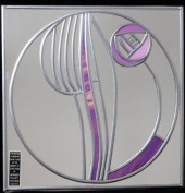 Decorative Stained Glass Square Mirror in a Mackintosh Hunterian Motif Small Rose in purple
