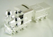 Silver Plated Train Money Box, Tooth & Curl Carriages- Baby Christening Gift