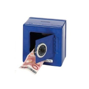 Kids Lockable Blue Metal Combination Money Bank Safe 13 x 13cm