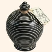 Authentic Terramundi Money Pot - Black With White Lines (C13).
