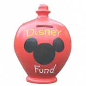 Terramundi Money Pot Red with Disney Fund written in Yellow and White S152