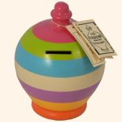 Authentic Terramundi Money Pot - Orange, Yellow, Crocus, Mistletoe, Pale Blue, Lime & Pink Stripes (C12).