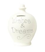 Authentic Terramundi Money Pot - Cream with Wishes & Dreams in Silver (S27).