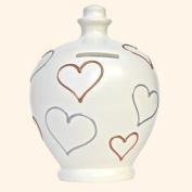 Authentic Terramundi Money Pot - Cream with Gold & Silver Hearts (L17).