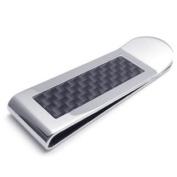 Konov Jewellery High Quality Stainless Steel Carbon Fibre Mens Money Clip, Colour Silver Black