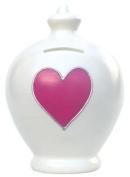 Authentic Terramundi Money Pot - Cream with Pink Heart (L5).