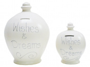 Deluxe Large Terramundi Money Pot Silver Writing Wishes & Dreams