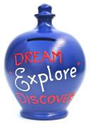 Terramundi Money Pot Dark Blue with Red & White writing Dream Explore Discover S146