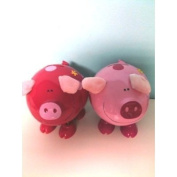 Piggy Bank - DARK Pink Pig Money Bank With Springy Legs And Cloth Ears - Great Gift Idea