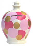 Terramundi Money Pot White with Pink and Pale Pink Small Gold Spots D39