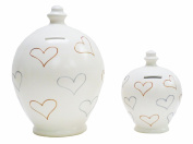 Deluxe Large Terramundi Money Pot Cream with Gold and Silver Hearts BP20