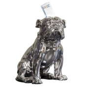 Kare 26 cm Sitting Bulldogge Money Bank, Silver
