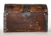 Large distressed vintage look round top treasure box