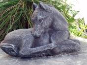 Garden ornament Horse Foal, Cast stone, Slate grey