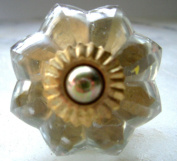 Flower shaped cut glass drawer & cupboard knobs