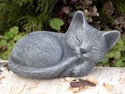 Garden ornamental Figure - Small Cat sleeping, Cast stone, Slate grey