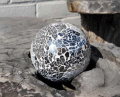Silver Mirror Glass Mosaic Decor Ball - 8cm