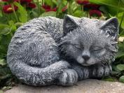 Garden ornamental Figure - Cat sleeping, Cast stone, Slate grey