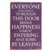 Large Wooden Hanging Message Plaque Or Sign DS 30 x 45cm Reads Brings Happiness
