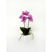 Artificial Orchid Pale Pink Silk Potted Flower Plant in White Wooden Pot 33cm tall