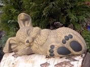 Garden ornament Rabbit sleeping, Cast stone, Light brown