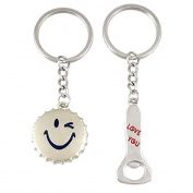 2 Pcs Smile Bottle Cap Opener Lovers Key Chain Keychain