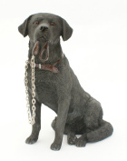 Sitting BLACK LABRADOR Dog Ornament - From The Walkies Range Of Collectable Dogs By Leonardo