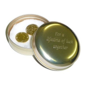 His & Hers Lucky Gold Plated Sixpences in Engraved Golden Tin
