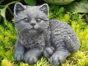 Garden ornamental Figure - Cat sitting, Cast stone, Slate grey