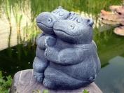 Garden ornament Hippo pair, Cast stone, Slate grey