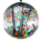 Witches or Spirit ball, 10cm, multi colour with glass strands inside