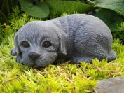 Garden ornamental Figure - Dog pup lying down, Cast stone, Slate grey