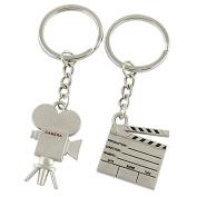 Silver Tone 2 Pcs Film Clipboard Camera Key Chain Ring