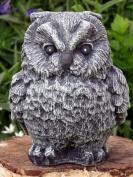 Garden ornament Owl, Cast stone, Slate grey