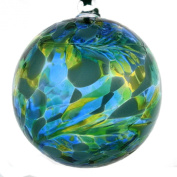 Hanging Glass Friendship Ball, 8cm, green and blue