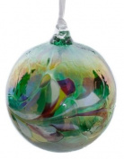 Small Green Handmade Recycled Glass Friendship Ornamental Globe Ball Bauble
