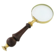 Antique Look 7.6cm Magnifying Glass Brass & Wooden Handle