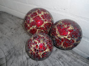 Tiger Red/Gold Mirror Glass Mosaic Decor Ball - 8cm