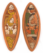 Mayan Ceramic Plaque for wall decoration - Fair trade and handmade in Mexico - Indoor or outdoor use L11xH30cm