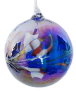 Large Blue Handmade Recycled Glass Friendship Ornamental Globe Ball Bauble