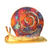 Snail multi-coloured recycled metal wall hanging, height 10cm - fair trade and hand made from copper and tin for Tumi in Mexico