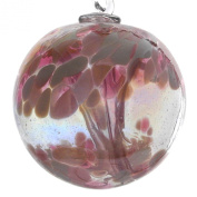 Witches or Spirit ball, 10cm, pink with glass strands inside