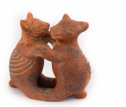 Colima Aztec Dancing Dogs Ceramic - Fair trade from Mexico - Indoor or outdoor use L12xH13cm
