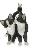 Playtime Affection Twin Cats Black & White Decorative Ornament